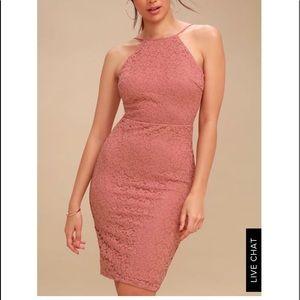 Lulus magic of love rusty rose lace bodycon dress